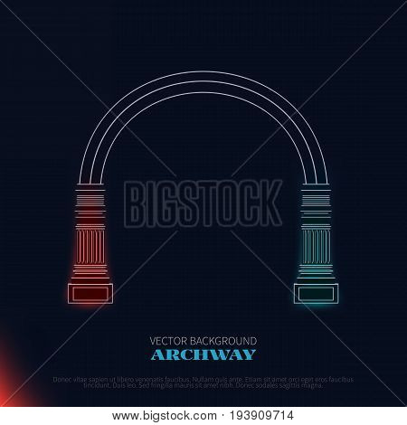 Antique roman column arch royal architecture.Vector archway on black background.