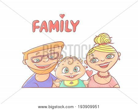 Vector illustration on a white background happy young family, the husband and wife, with smiling infant. Mom and dad with the baby. Greeting card on the day of family, love and fidelity