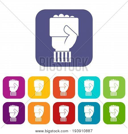 Hand of soccer referee showing card icons set vector illustration in flat style In colors red, blue, green and other