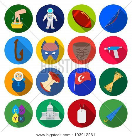hobby, tourism, history, and other  icon in flat style. health improvement, sport icons in set collection.