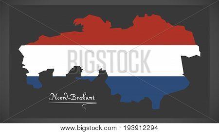 Noord-brabant Netherlands Map With Dutch National Flag Illustration