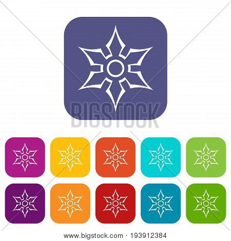 Ninja shuriken star weapon icons set vector illustration in flat style In colors red, blue, green and other