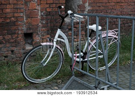 white Bicycle with basket of flowers parked near the fence.