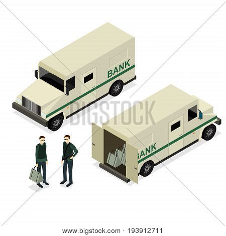 Armored Truck Set and Uniform Person Isometric View Encashment Bank Security Finance Service. Vector illustration