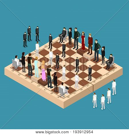 Chess People Figures on a Chessboard Isometric View Strategy Business Game or Corporate Competition. Vector illustration