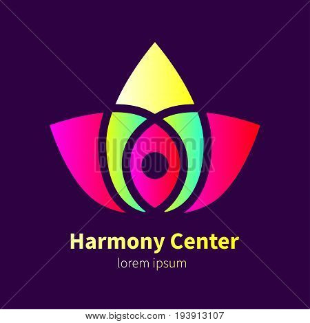 Logo center of harmony. Gradient icon in shape of  lotus for yoga studio, massage. Stock vector
