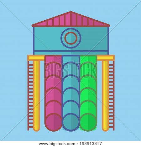 High slide with big spacious house on top, long round colorful tubes of green, blue and pink colors and red ladders to climb up isolated bright cartoon flat vector illustration on blue background.