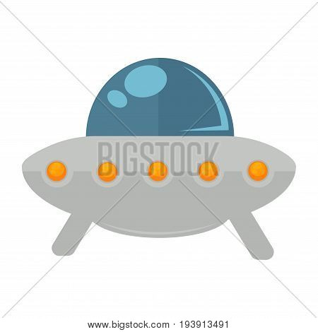 Ufo colorful vehicle isolated on white vector illustration in graphic design. Close up poster of flying alien machine with legs, cabin with light outdoors and glass capsule for driver sitting