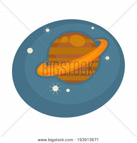 Saturn out in space among shiny stars on blue sky inside oval shape isolated vector illustration on white background. Big planet with asteroid belt placed in Milky Way galaxy at Solar System.