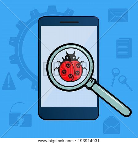 Ladybug with skulls under magnifying glass. Virus detected. Hacker Attack. The mobile phone is infected