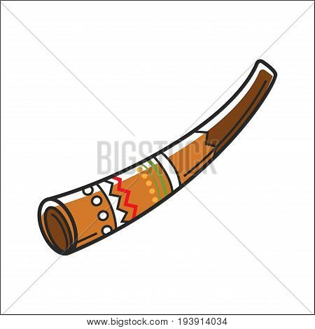 Didgeridoo equipment for making music isolated on white. Vector colorful closeup illustration in graphic design of Australian Aboriginal traditional musical instrument with colorful ornament.