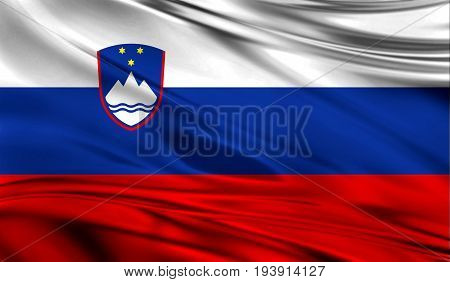 Realistic flag of Flag of Slovenia on the wavy surface of fabric. This flag can be used in design