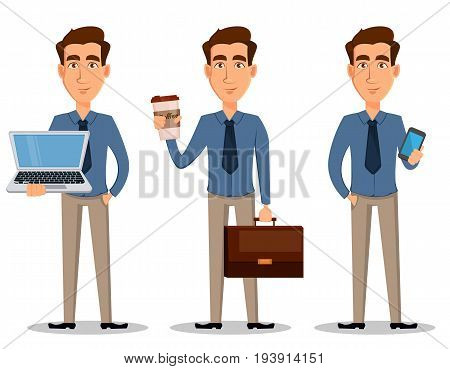 Business man set of 3 poses isolated on white background. Holding laptop standing with coffee and showing smartphone - stock vector