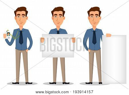 Business man set of 3 poses isolated on white background. Showing badge holding banner and standing near banner - stock vector