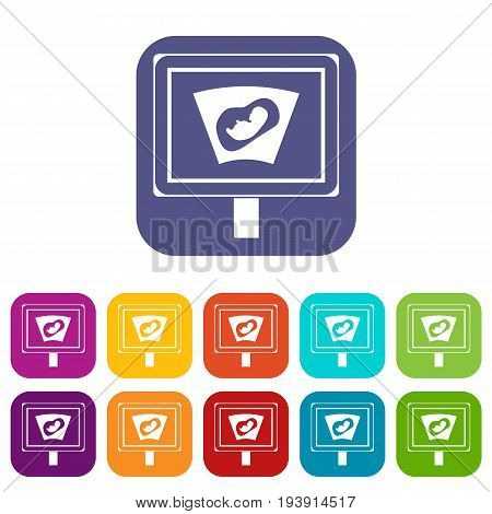 Ultrasound of baby in mother womb icons set vector illustration in flat style In colors red, blue, green and other