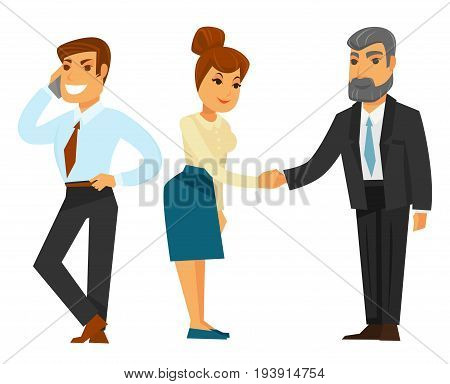 Guy in shirt with red tie and trousers talks by mobile phone, woman in beige blouse and formal skirt shakes hand with grey bearded man in black suit and blue tie isolated vector illustrations set.