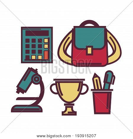 Old calculator, small retro rucksack, powerful microscope, golden winning cup and cup with stationary tools isolated vector illustrations on white background. Education themed flat icons set.