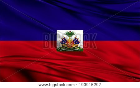 Realistic flag of Flag of Haiti on the wavy surface of fabric. This flag can be used in design