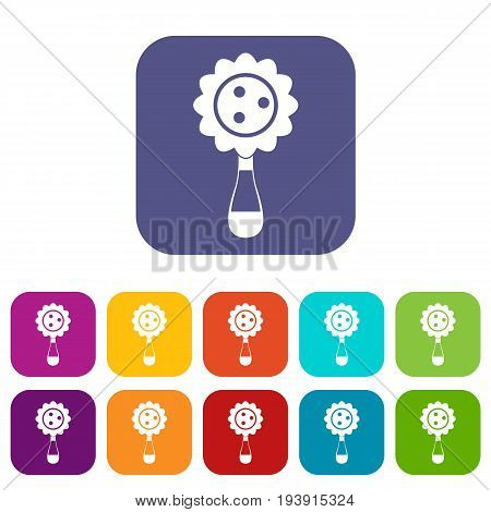 Rattle baby toy icons set vector illustration in flat style In colors red, blue, green and other