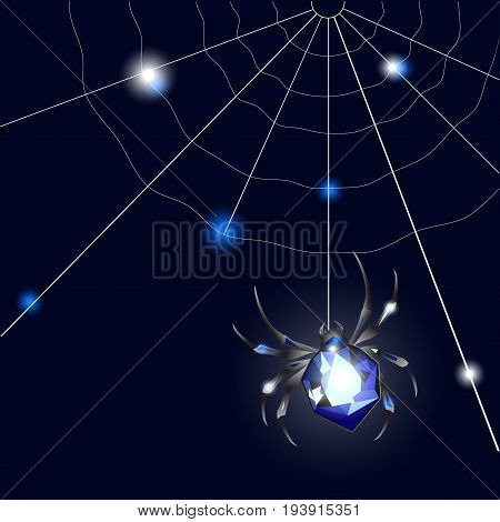Sapphire Spider and web on black background with glimpses. Vector illustartion