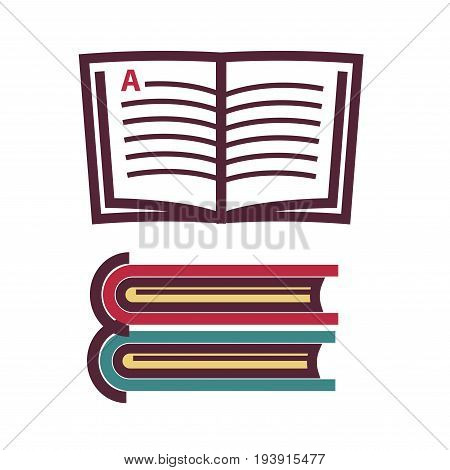 Vector illustration of opened and closed literature isolated on white.