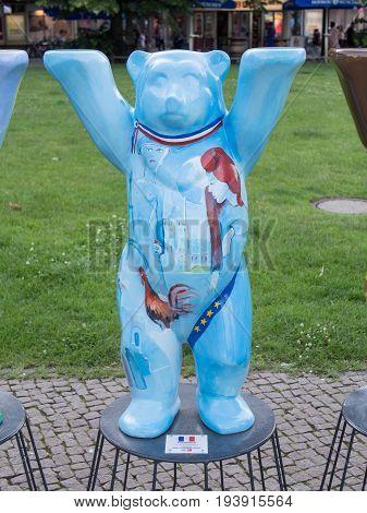 BERLIN GERMANY - JULY 3 2017: United Buddy Bears: France Bear At Wittenbergplatz Square In Berlin