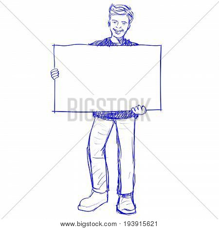 Man holding blank board holds a placard. The man holding a white poster. Hand drawn Vector