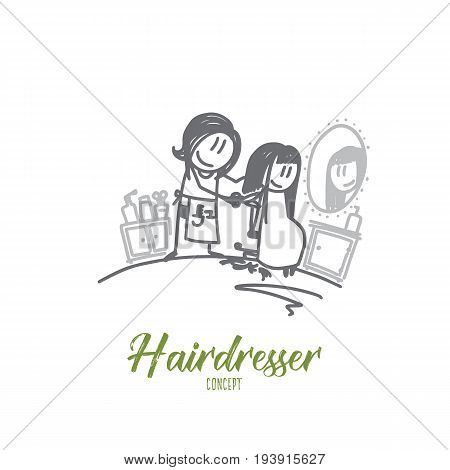 Hairdresser concept. Hand drawn female hairdresser making haircut. Hairstylist and client in salon isolated vector illustration.