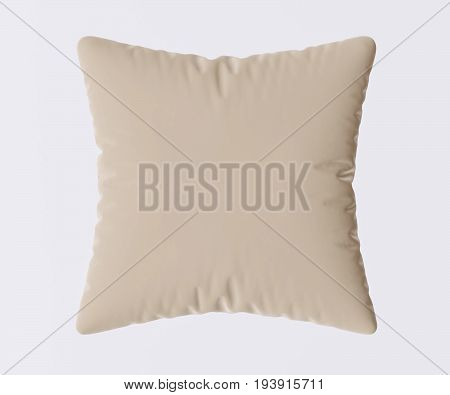 Beige pillow isolated on gray background. 3d image