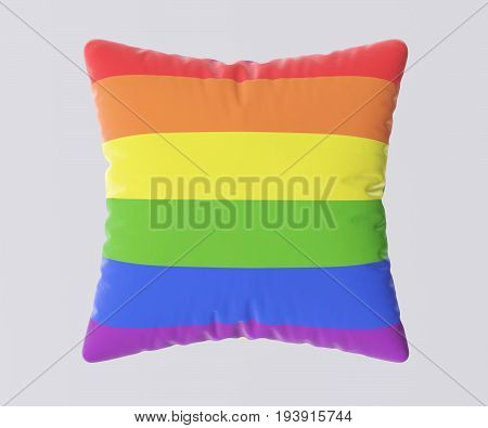 LGBT flag pillow isolated on gray background. 3d image