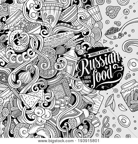 Cartoon cute doodles hand drawn Russian food frame design. Contour detailed, with lots of objects background. Funny vector illustration. Line art border with cuisine theme items