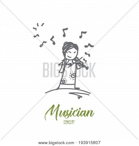 Musician concept. Hand drawn portrait of female musician. Woman playing the violin isolated vector illustration.