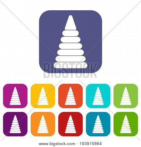 Pyramid built from plastic rings icons set vector illustration in flat style In colors red, blue, green and other