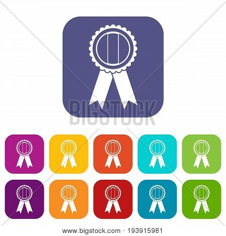 Rosette icons set vector illustration in flat style In colors red, blue, green and other
