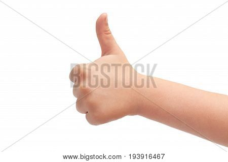 Hand Of Kids Hand Gesture Of Thumbs Up. Isolated On White Background