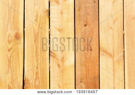 Larch boards wall panels of the ecological house. Structure of larch wood. Place for text