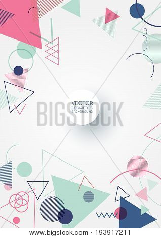 Vector abstract modern background with geometric shapes - circles, triangles and lines