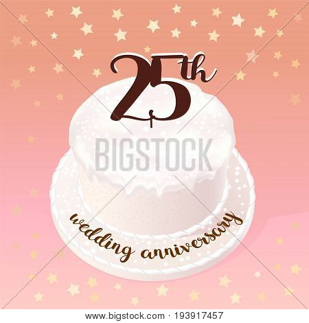 25 years of wedding or marriage vector icon illustration. Design element with celebration cake for 25th wedding anniversary