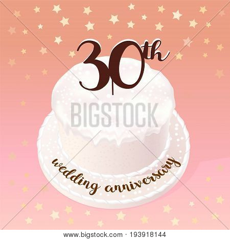 30 years of wedding or marriage vector icon illustration. Design element with celebration cake for 30th wedding anniversary