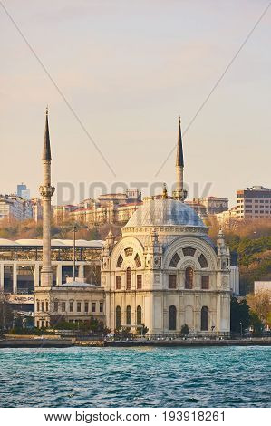 Dolmabahce Mosque on the banks of the Bosphorus, Istanbul, Turkey