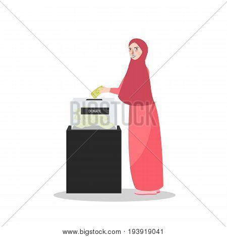 girl put money into donation box Islam muslim charity the woman wearing veil scarf vector