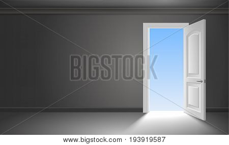 The door and the exit from the dark gloomy room. Concept on the theme of liberation. The beginning of the way. Vector graphics poster