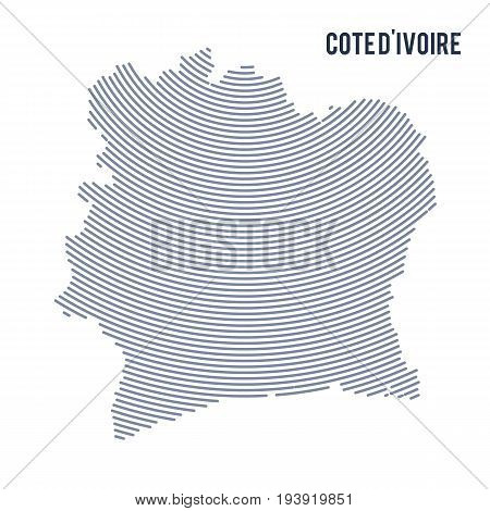 Vector Abstract Hatched Map Of Cote D'ivoire With Curve Lines Isolated On A White Background.