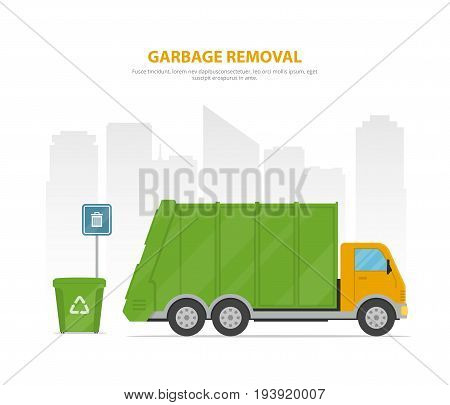 Garbage removal. Cartoon banner with garbage truck and dumpsters on the background the city skyline. Vector illustration in flat style.