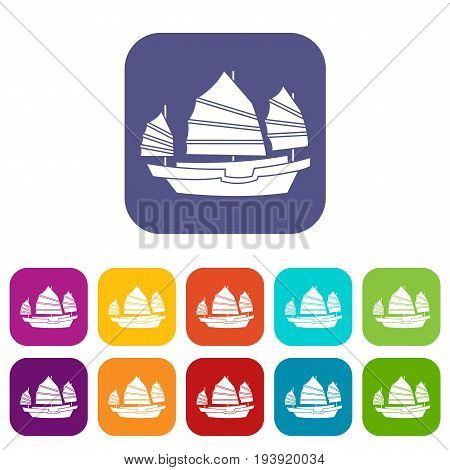 Junk boat icons set vector illustration in flat style In colors red, blue, green and other