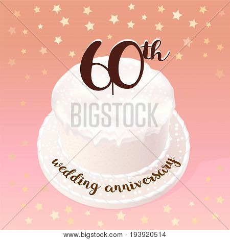 60 years of wedding or marriage vector icon illustration. Design element with celebration cake for 60th wedding anniversary