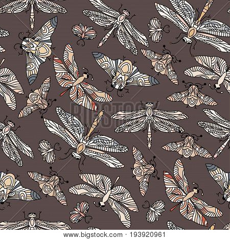 Seamless vector hand drawn pattern with fantasy butterflies, dragonflies, beetles, bugs and mothes in modern style. Beautiful botany illustration.