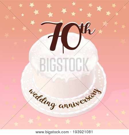 70 years of wedding or marriage vector icon illustration. Design element with celebration cake for 70th wedding anniversary