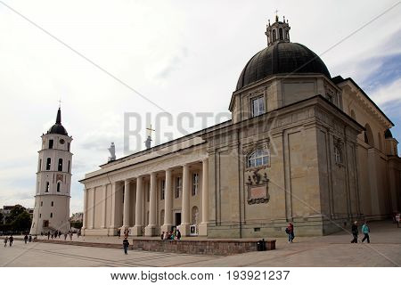 VILNIUS, LITHUANIA - JULY 19, 2015: Cathedral Basilica Of St. Stanislaus And St. Vladislav and Bell Tower on Cathedral Square in Old town of Vilnius, Lithuania.