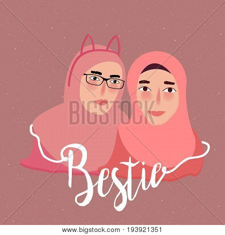bestie best friend two girl islam wearing scarf veil vector